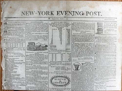 ... new york evening post march 9 1814 place published new york publisher