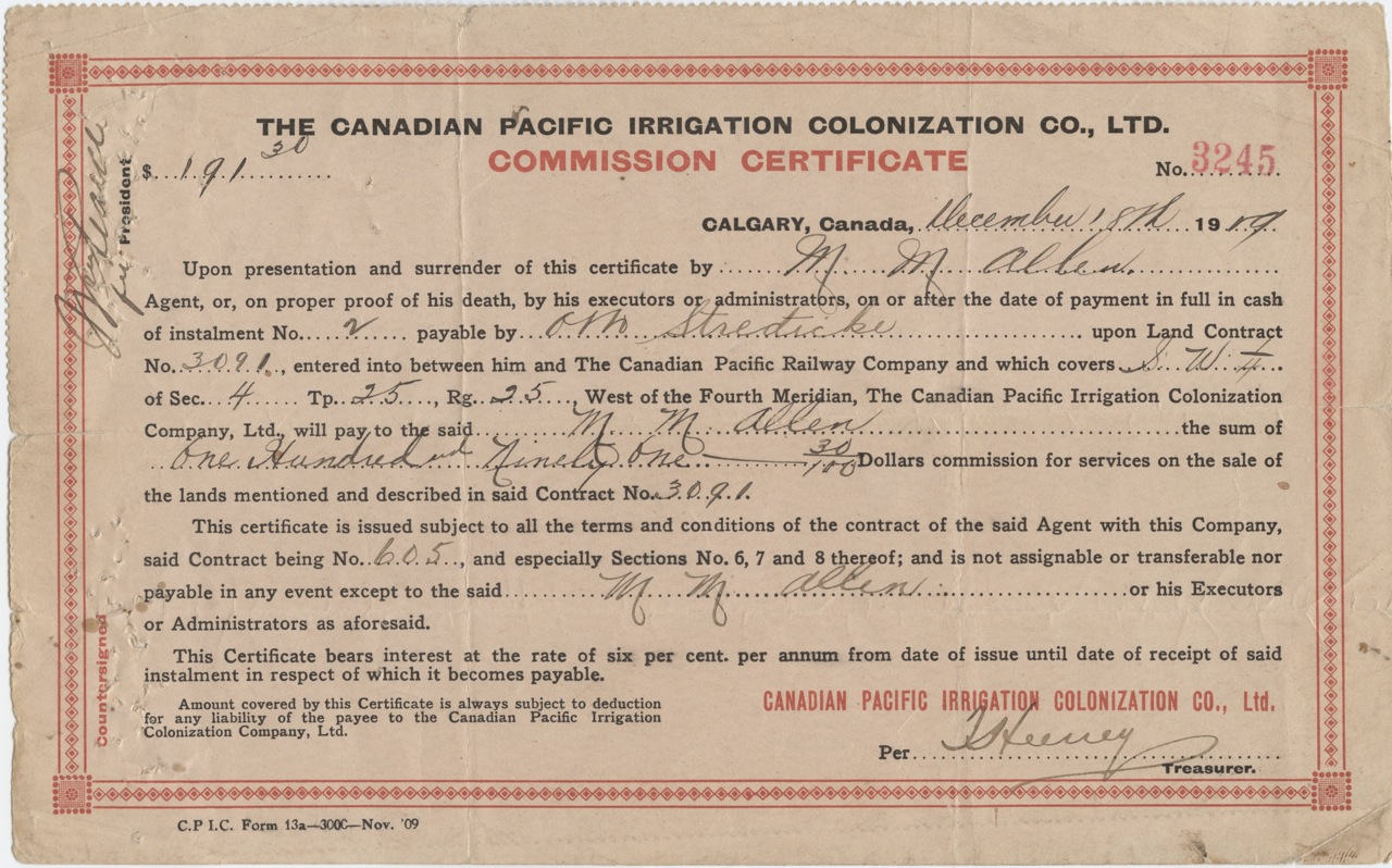 The Canadian Pacific Cpr Irrigation Colonization Co Ltd Commission