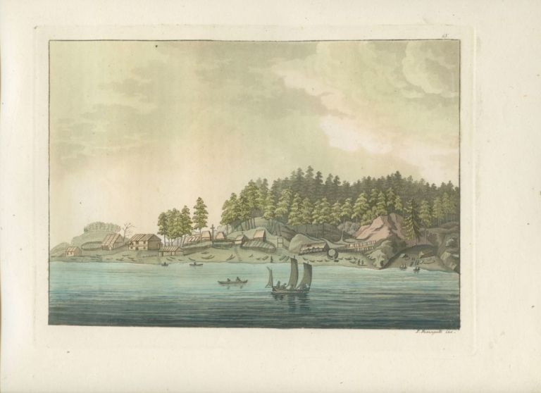 """La baie des amis dans le détroit de Noutka"" People in boat off shore with land in background hand colored aquatint print. Giulio FERRARIO, Paolo  FUMAGGATI, fl, engraver."