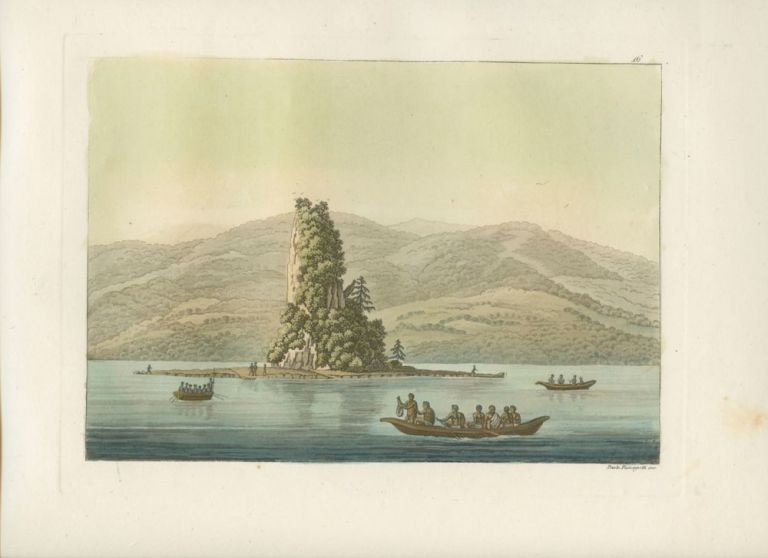 """Le roc de New-Eddystone"" Natives in boats off shore with island and in background hand colored aquatint print. Giulio FERRARIO, Paolo  FUMAGGATI, fl, engraver."