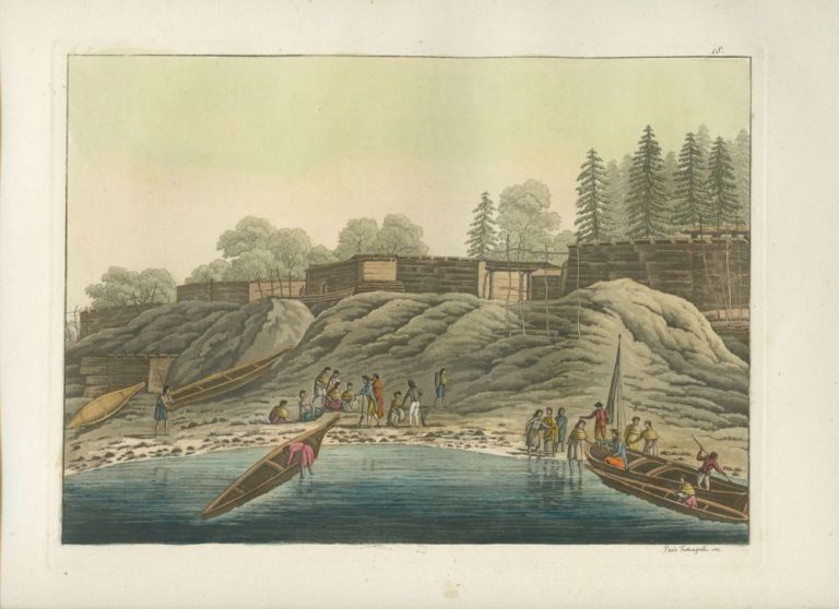 """Esterno delle abitazioni di Nutka"" Natives in boats landing on shore with buildings in background hand colored aquatint print. Giulio FERRARIO, Paolo  FUMAGGATI, fl, engraver."