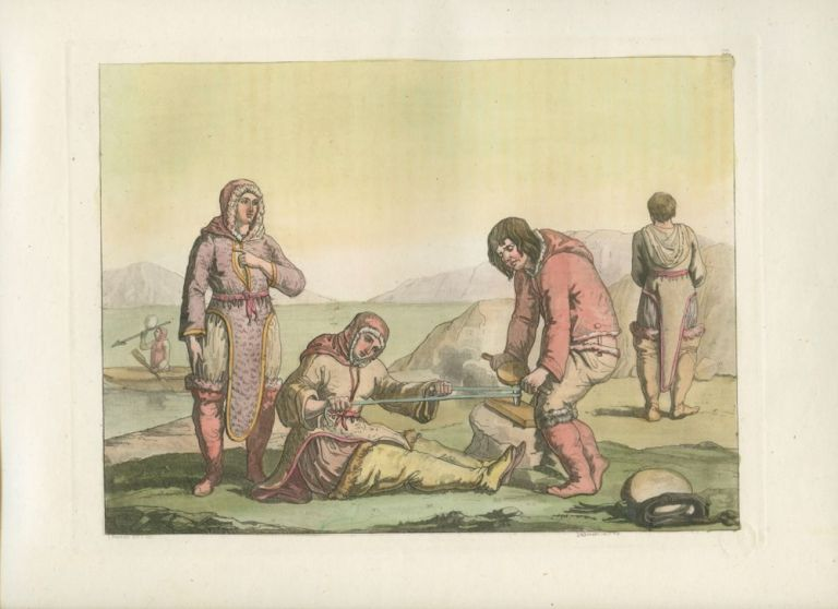 """Abiti degli Eschimo"" (Eskimo - Canada) People sitting onshore trying to start a fire with boat in background in a bay. Giulio FERRARIO, D. K.  BONATTI, fl., engraver."