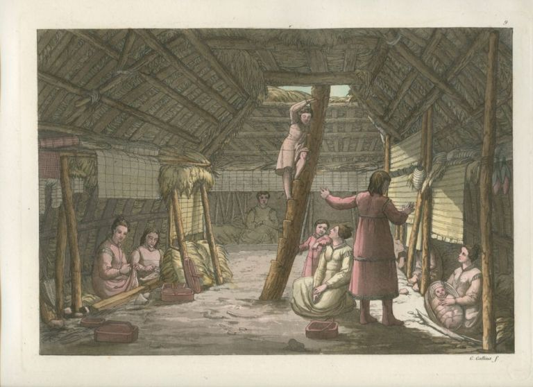 """Intérieur d'une maison d'Unalaschka"" People in a community house with little girl climbing steps carved out of a pole. Giulio FERRARIO, Gallo  GALLINA, engraver."