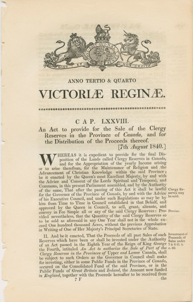 An act to provide for the sale of the Clergy Reserves in the Province of Canada Victoriae Reginae 1840. BRITISH GOVERNMENT - Act of Parliament.