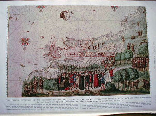 Engraving of a 1546 map / view of the founding of Canada by Jacques Cartier. Jacques Cartier.