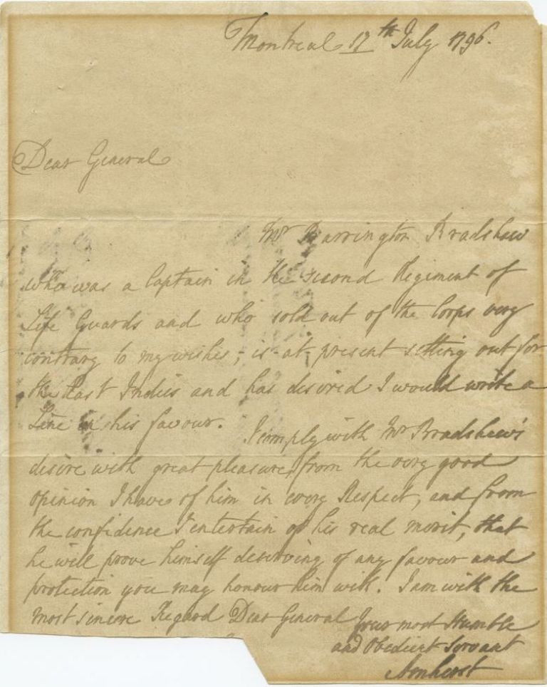 "Jeffery Amherst ASL ""letter of recommendation"" for Barrington Bradshaw (to unkonwn) UK Manusricpt 1796. Jeffery AMHERST, 1st Baron Amherst."