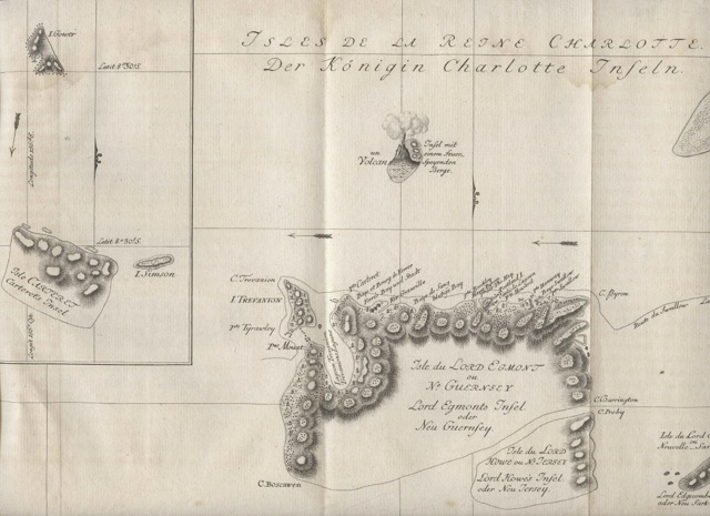 Isles de la Reine Charlotte - map of Queen Charlotte Island on James Cook journey. Jacques Nicolas BELLIN.
