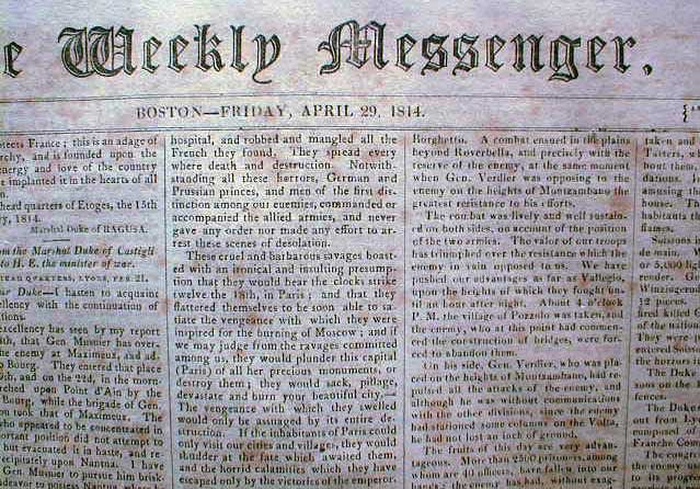 War of 1812 Battle Lacolle Mills, Quebec, April 29, 1814 [Boston] Weekly Messenger newspaper. newspaper.