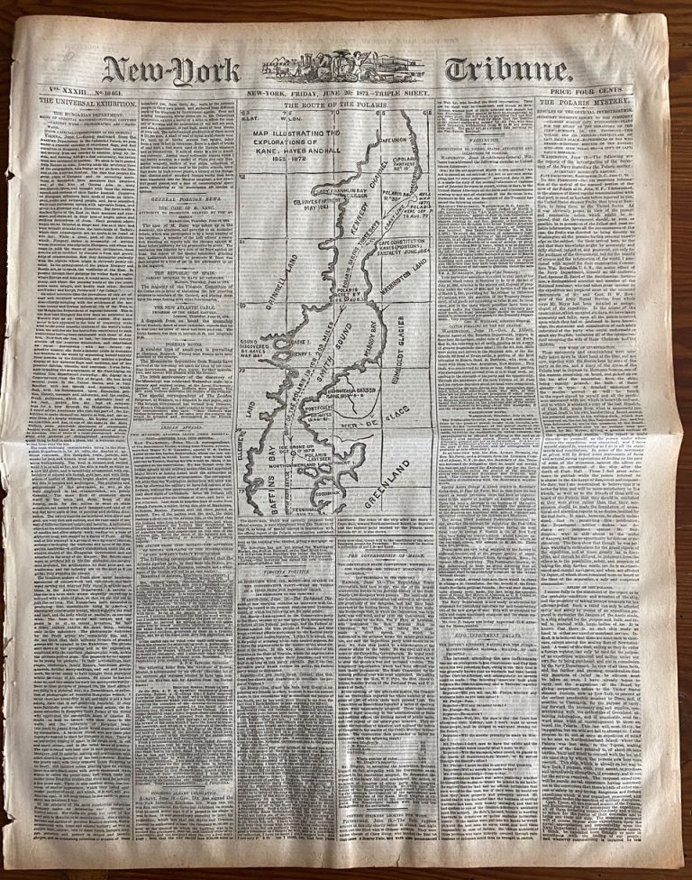 Polaris Mystery Indepth Report with Map of Route in the New-York Tribune June 1873. New-York Tribune newspaper.
