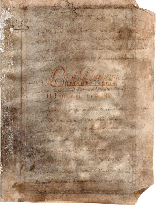 French Document, Royal Seat of Carhaix. ANON.