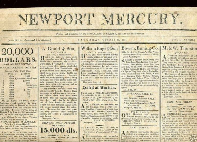 "WAR 1812, ""My Voice is Still for War"" The Newport Mercury, October 12, 1811 newspaper. newpspaper."