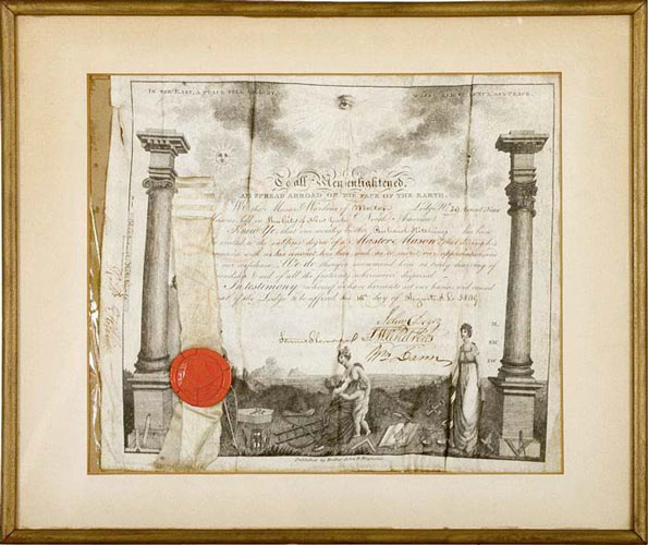Engraved Master Mason Masonic Certificate, framed and printed on Vellum, New York. Richard HITCHINGS.