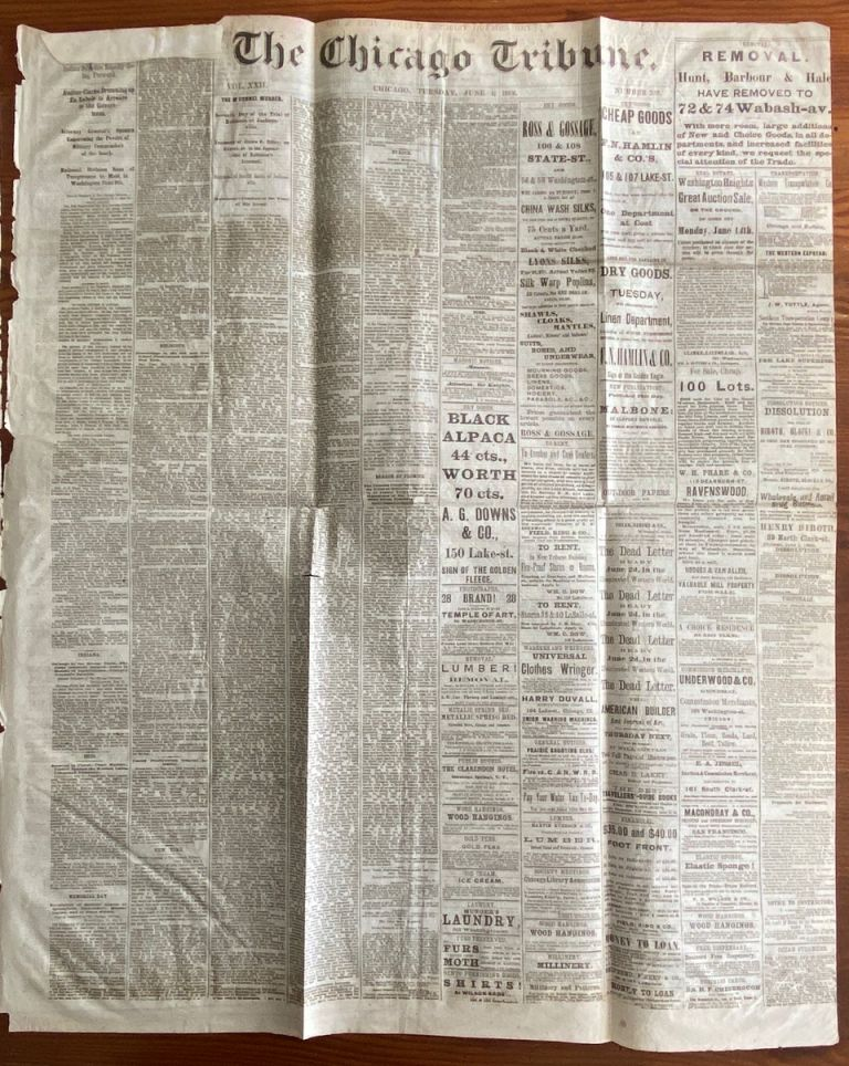 The Chicago Tribune newspaper June 1, 1869 Indepth Report on; The New Northwest, The Transfer of Selkirk and Saskatchewan To Canada, Fur Traders and Speculators etc. The Chicago Tribune newspaper.