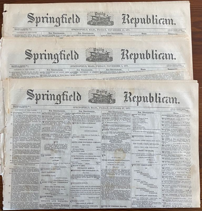 Three (3) 1871 The Springfield Republican newspapers with articles on Muskoka, Ontario Canada. The Springfield Republican newspaper.