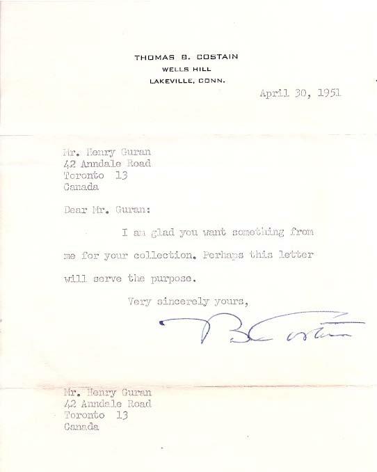 Author Thomas B. Costain Typed Letter Signed. Thomas .  COSTAIN, ertram, 1885 - 1965.