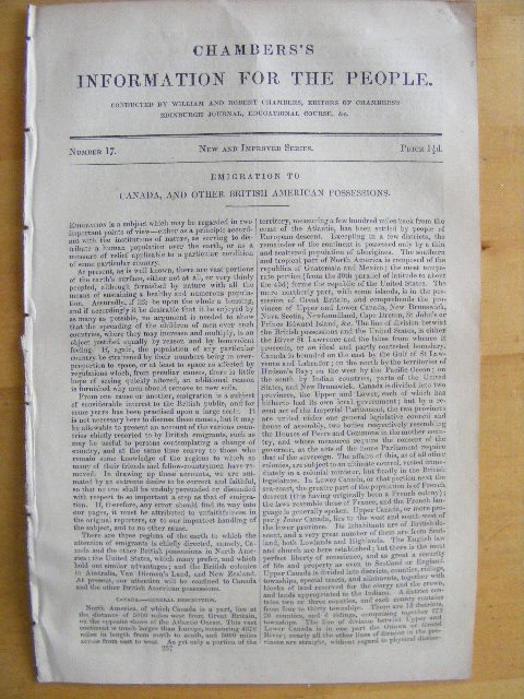 Chambers's Information for the People Number 17 Emigration to Canada, and other British American possessions. William CHAMBERS, Robert Chambers.