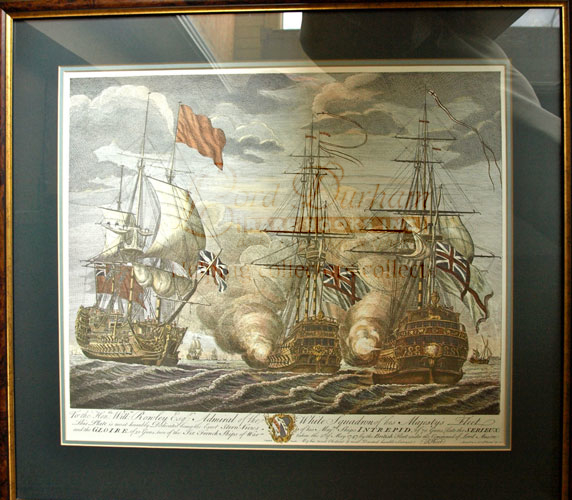 Battle of Cape Finisterre in 1747, HMS INTREPID Litho Print - 70 gun Man o' War captured by the English. Lord ANSON.