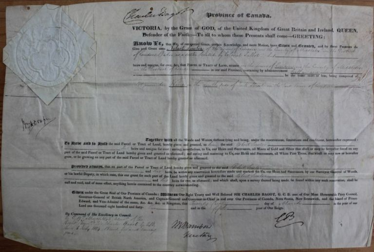 Province of Canada Land Grant of half an acre to Robert Sowter, in London, Upper Canada. Sir Charles BAGOT, William Henry DRAPER, Robert SOWTER.