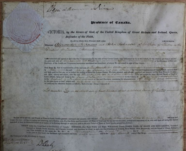 Province of Canada Land Grant of half an acre to Alexander Johnson and John Johnson in Town of London, Upper Canada. James 8th Earl of Elgin BRUCE, 12th Earl of Kincardine, Alexander and John JOHNSON.