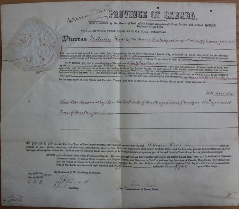 Province of Canada Land Grant to William Hoar, of the Township of Penetanguishene in the County of Simcoe. Signed by W.E. Head, E.A. Meredith, and Andrew Russell. Sir Edmund Walker HEAD, Edmund Allen MEREDITH, Andrew RUSSELL, William HOAR.