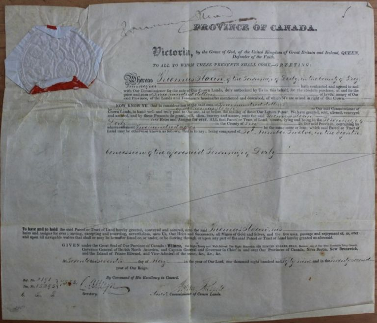 Province of Canada Land Grant to Thomas Sloan of the Township of Derby in the County of Grey, Innkeeper, (signed by W.E. Head, Andrew Russell). Sir Edmund Walker HEAD, Andrew RUSSELL, Thomas SLOAN.