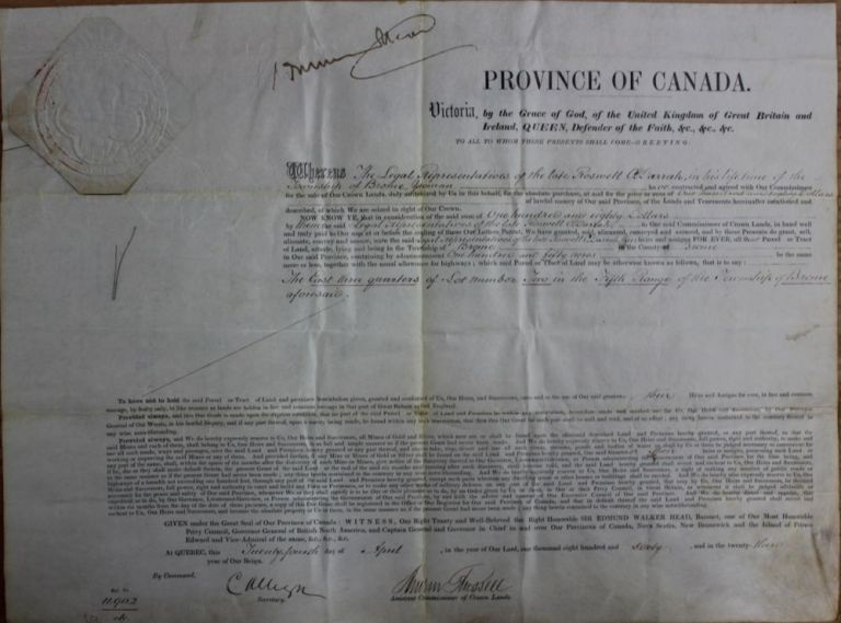 Province of Canada Land Grant to Roswell O. Darrah in the Township of Brome in the County of Brome (Eastern Townships - Québec). Sir Edmund Walker HEAD, Andrew RUSSELL, Roswell O. DARRAH.