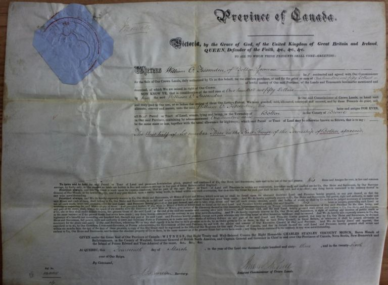 Province of Canada Land Grant to William O. Fessenden of the Township of Bolton in the County of Brome (Eastern Townships - Québec). Charles Stanley 4th Viscount Monck  MONCK, Andrew RUSSELL, William O.  FESSENDDEN, 1819 - 1894.