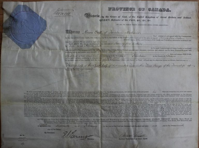 Province of Canada Land Grant to Hosea Bull of Farnham in the Township of Farnham. Charles Stanley 4th Viscount Monck  MONCK, Andrew RUSSELL, Hosea G. BULL, 1819 - 1894.