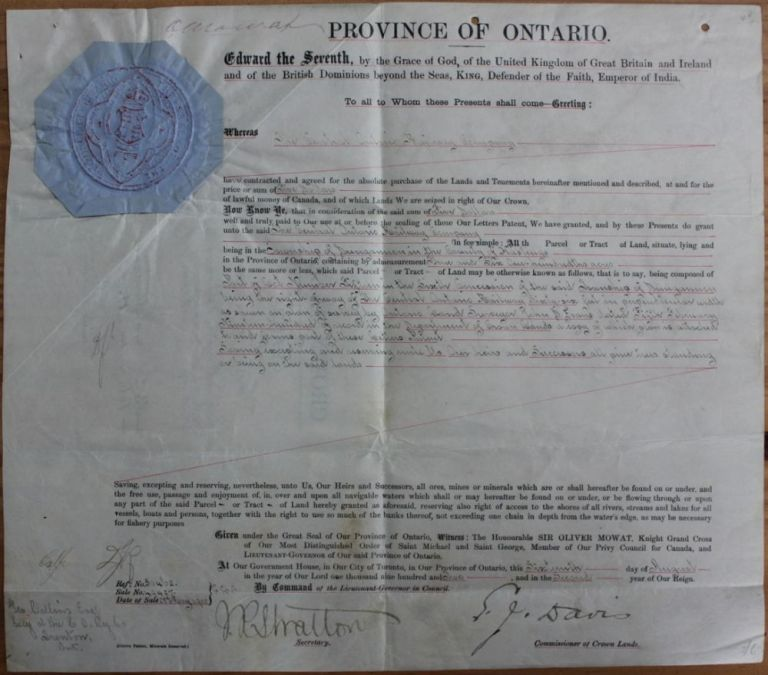 Province of Ontario land grant to The Central Ontario Railway Company Township of Dungannon in the County of Hastings. Sir Oliver MOWAT, Elihu James DAVIS, James Robert Stratton STRATTON, George COLLINS, 1860?-1927.