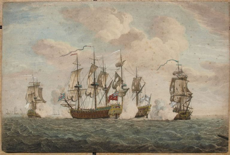 The Brave Capt Tyrrill (Tyrrell) in the Buckingham of 66 Guns & 472 Men defeating the Florissant, Aigrette & Atlante, three French Ships of War, the 3rd of Novr 1758. Sir HERVEY SMYTH, Rear-Admiral Richard  TYRRELL, Smith, c.