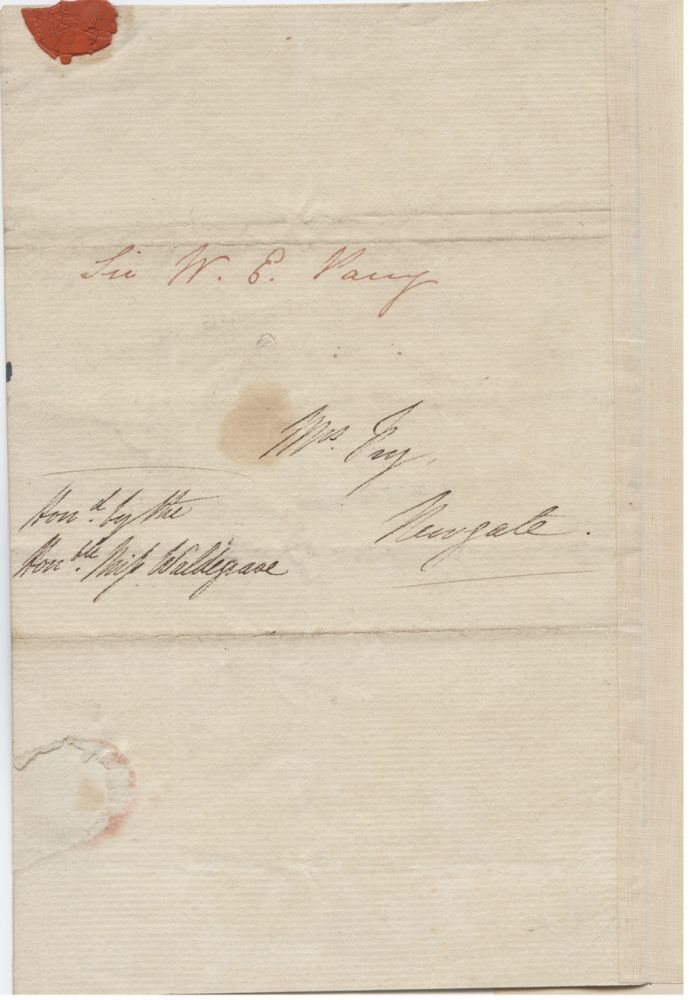 Letter addressed to Mrs. [Elizabeth] Fry signed by William Edward Parry. Sir William Edward R. N.  PARRY, Elizabeth FRY, Betsy, née Gurney, 1790 - 1855.