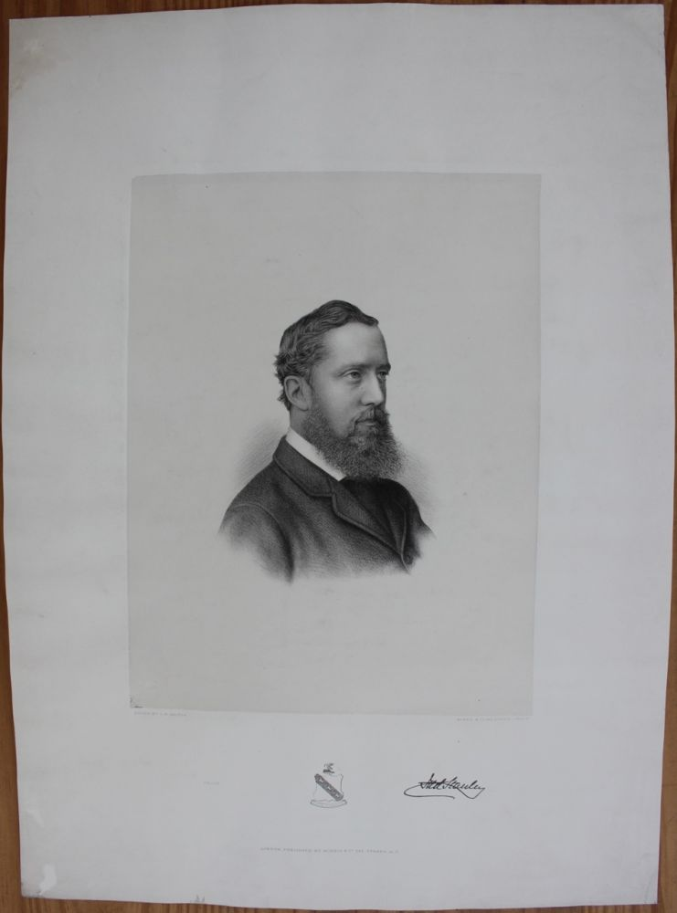 Quite rare circa 1880 early engraving of Lord Stanley. Sir Frederick Arthur STANLEY, 16th Earl of Derby, 1st Baron Stanley of Preston, Charles William  WALTON, Lord Stanley of Preston, Active.
