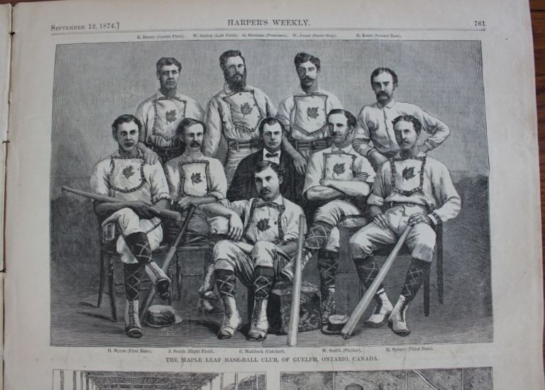 Printed newspaper 1874 Guelph Maple Leafs, line drawing of Canada's first world-champion baseball team. Harper's Weekly .