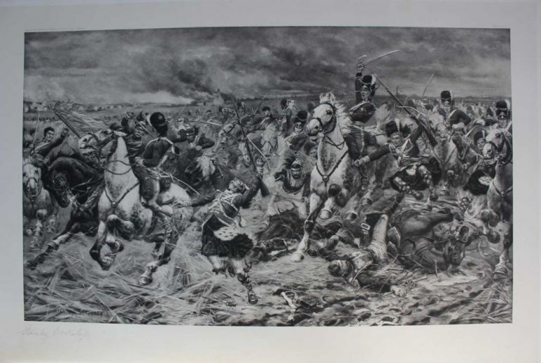 Gordons and Greys to the Front: An Incident at Waterloo. photogravure signed in pencil by Stanley Berkeley. Stanley BERKELEY.
