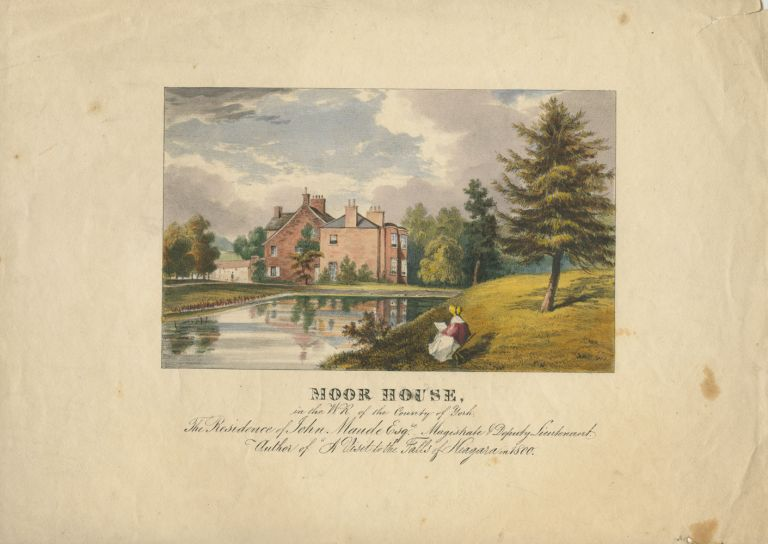 Moor House, in the W.R. of the County of York, UK - coloured c1840 engraving. John MAUDE.