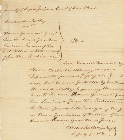 Tryon County legal will document signed twice by Walter Butler (1752-81) Loyalist. Walter BUTLER.