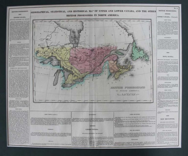 Geographical, Statistical, And Historical Map Of Upper And Lower Canada, And The Other British Possessions In North America. British Possessions In North America. Fielding Jr. LUCAS, YOUNG, DELLEKER.
