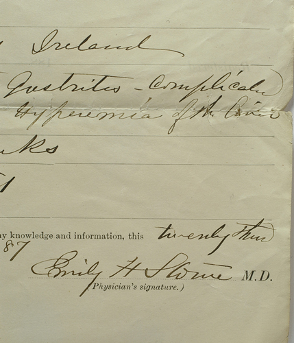 Signed 1887 death certificate by Dr. Emily Stowe for Mrs. Elizabeth Aikenhead. Dr. Emily Howard STOWE, Elizabeth AIKENHEAD, nee Jennings, nee Higginbotham.