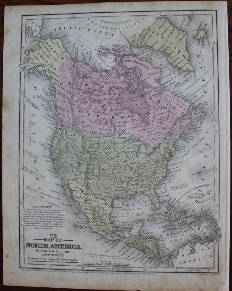 Map of North America. Samuel Augustus Jr. MITCHELL, J. H. YOUNG.