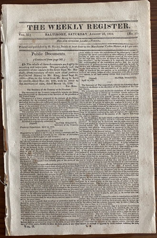 The Weekly Register Aug. 22, 1812 published July 22, 1812 Proclamation From Major-General Isaac Brock of Upper Canada on The Unprovoked Declaration of War By The United States. The Weekly Register, Sir General Isaac BROCK, subject.