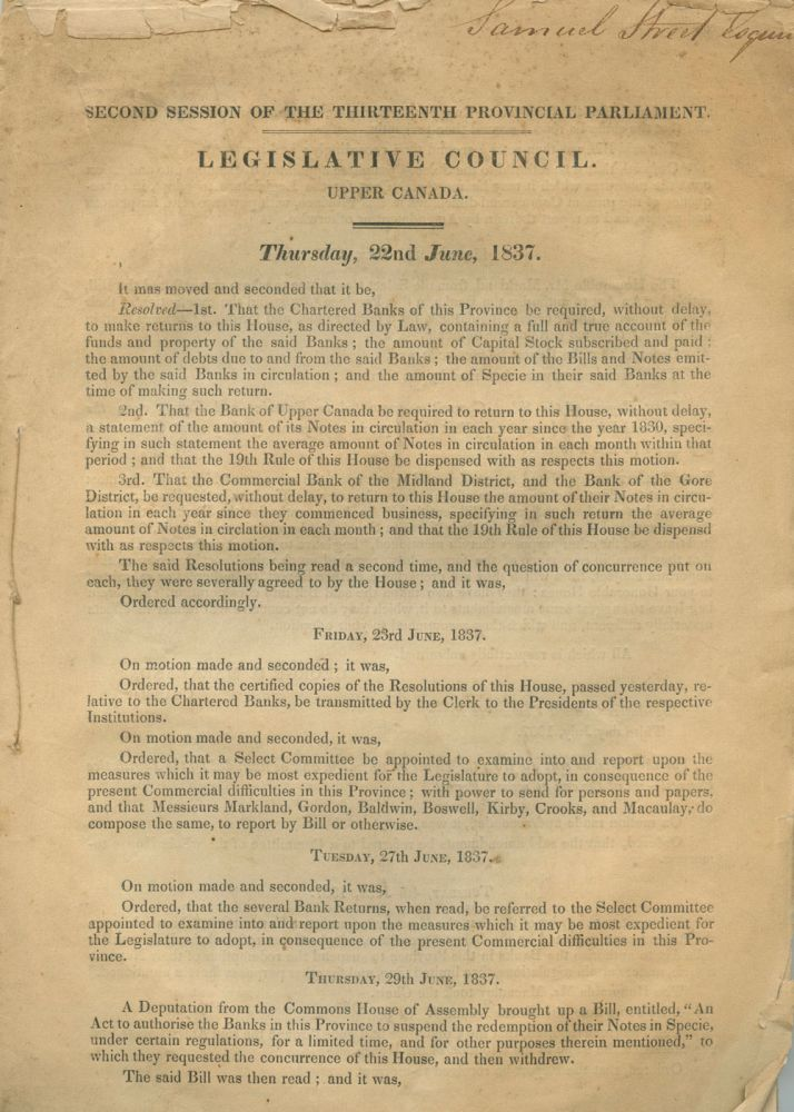 71pp Report of the select committee , Second session of the thirteenth Provincial Parliament, Legislative Council Upper Canada 1837. Canada Colonial Government, Samuel Street, provenance.