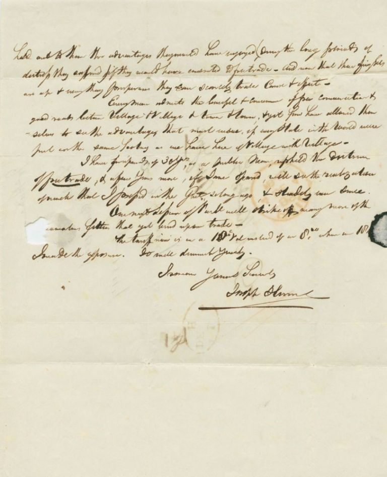 [partial] Joseph Hume 1846 Autograph Letter Signed with content relating to free trade. Joseph  HUME, 1777 -1855.