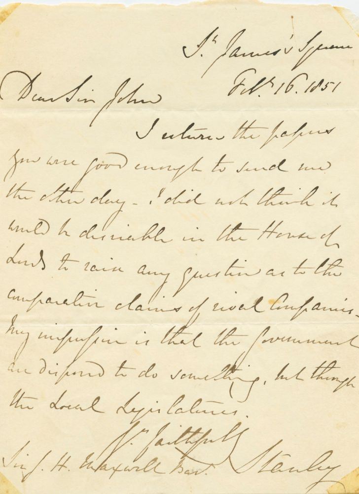 Edward George Geoffrey Smith-Stanley, 14th Earl of Derby 1851 Autograph Letter Signed (ASL) to Sir John Heron-Maxwell. Edward George Geoffrey SMITH-STANLEY, 14th Earl of Derby. , 1799 -1869.