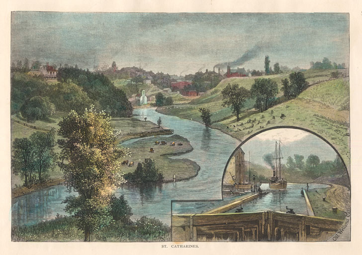 St. Catharines with insert showing the Welland Canal. Alfred WAUD.
