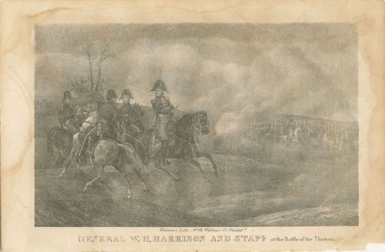 General W.H. Harrison and Staff as the Battle of the Thames engraving. William Henry HARRISON, subject.