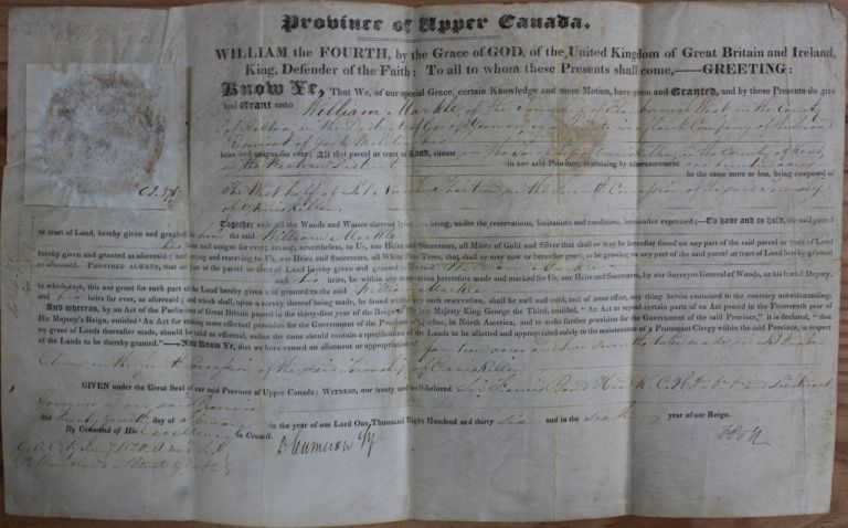 Province of Upper Canada Military Land Grant (signed by at least F.B. Head). Sir Francis Bond HEAD, William MARKLE, Duncan CAMERON, Robert Sympson JAMESON.