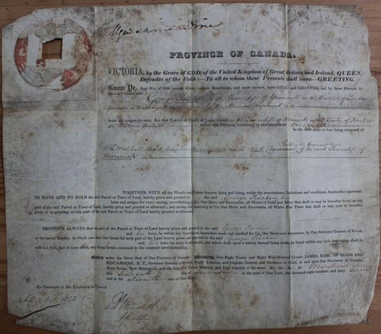 Province of Canada Land Grant to George Fischer for 100 acres in the Township of Warwick. James 8th Earl of Elgin BRUCE, 12th Earl of Kincardine, George FISCHER.