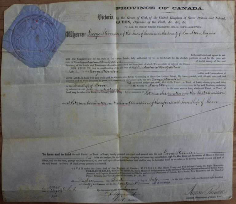 Province of Canada Land Grant to George Stevenson of the Town of Sarnia, the Township of Moore, in the County of Lambton. Charles Stanley 4th Viscount Monck  MONCK, Andrew RUSSELL, Edmund Allen MEREDITH, 1819 - 1894.