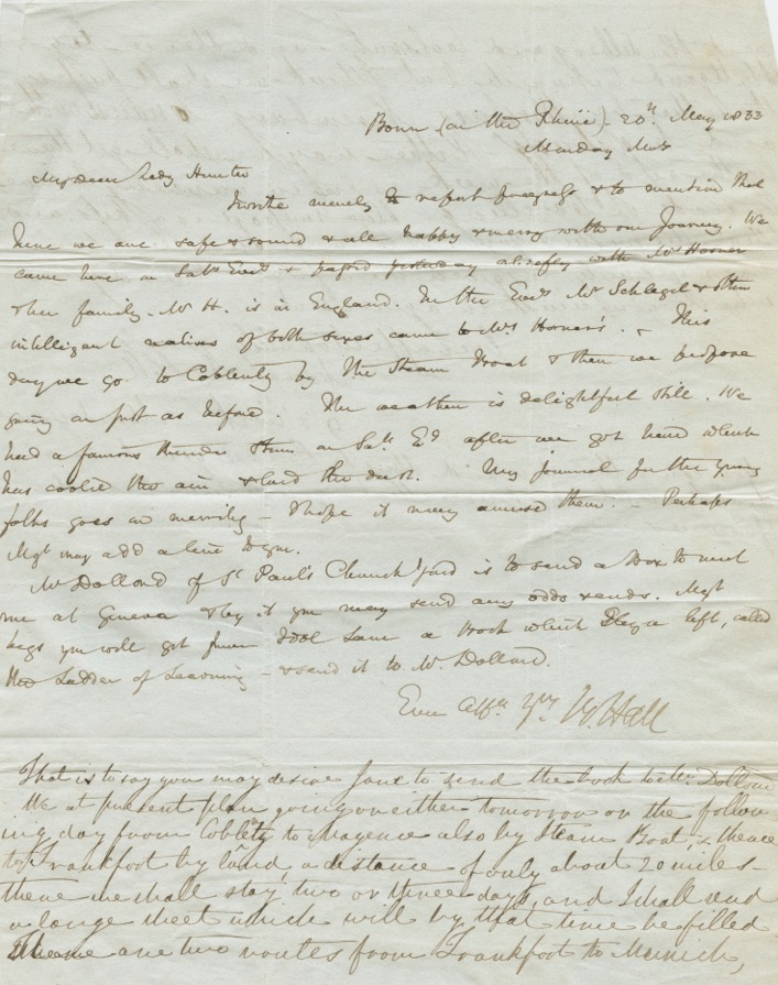Basil Hall manuscript letter to his wife's mother, Lady Hunter with addition by Margaret Hall. Captain Basil HALL, Mrs. Margaret HALL, nee Hunter.