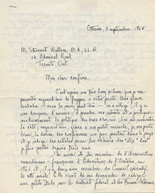 Autographed Signed Letter in French from Séraphin Marion to W. Stewart Wallace. Séraphin MARION, W. Stewart WALLACE, William Stewart.